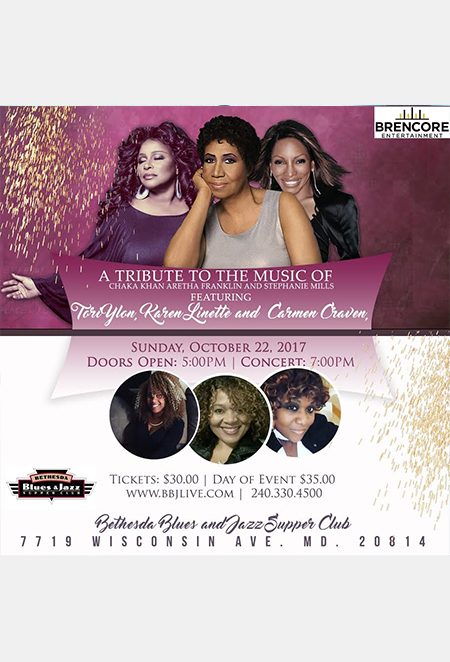 Tribute to the Music of Aretha, Chaka and Stephanie flyer